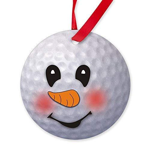 EvelynDavid New Year Christmas Tree Decoration Golf Ball Snowman Round Christmas Ornament ()