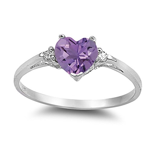 Genuine Birthstone Ring Amethyst (925 Sterling Silver Faceted Natural Genuine Purple Amethyst Heart Promise Ring Size 5)
