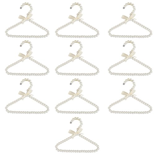 Jili Online Pack of 10Pcs, Pearl White Beaded Hanger Clothes Trouser 20cm Household Organization (White Color)