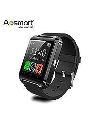 Reloj inteligente Bluetooth, aosmart U8SmartWatch para Android smartphones, Negro