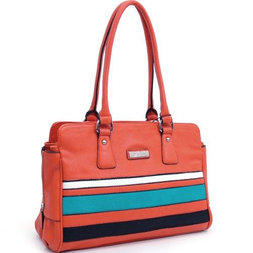 Dasein Women's Multicolor Striped Leather Like Shoulder Bag Handbag -Orange (Leather Handbag Purse Like)