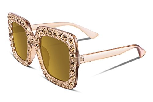 FEISEDY Women Sparkling Crystal Sunglasses Oversized Square Thick Frame - Oversized Sun Glasses