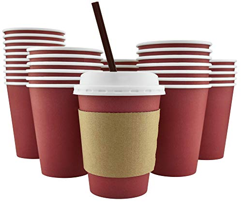 100 Pack - 12 Oz [16 Oz] [4 Colors] Disposable Hot Paper Coffee Cups, Lids, Sleeves, Stirring Straws - Cranberry Red]()