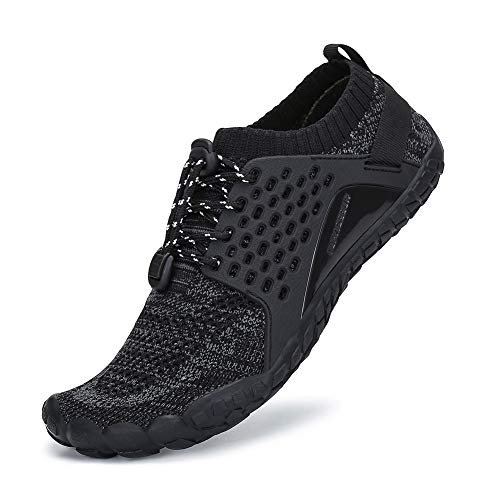 SAJOMCE Mens Womens Trail Running Shoes Outdoor Barefoot Walking Shoes Water Hiking Shoes Wide Toe Box Black