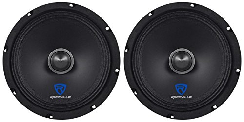 (2) Rockville RXM84 8″ 500w 4 Ohm Mid-Range Drivers Car Speakers, Mid-Bass