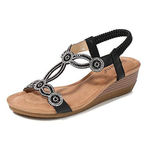 Meeshine Womens Wedge Sandal Platform Rhinestone Dress Sandals Bohemia Shoes Black -07 US -