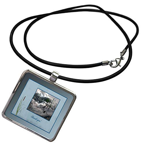 3dRose Beverly Turner Thank you Design - Thank you, Frog in a Pond Photo, Cattails Accent, Blue Frame - Necklace With Rectangle Pendant (ncl_286999_1)