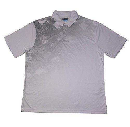 PGA TOUR Mens Tech Space Dye Argyle Print Polo (X-Large, Bright White) ()
