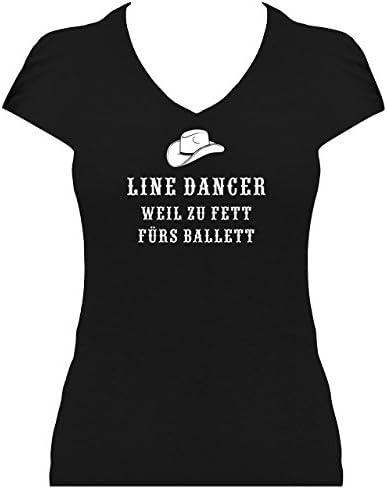 "Elegancka koszulka damska Line Dancer z napisem w j. niemieckim ""weil zu fett fürs Ballett mit Cowboyhut"" Western elegancka koszulka damska: Odzież"