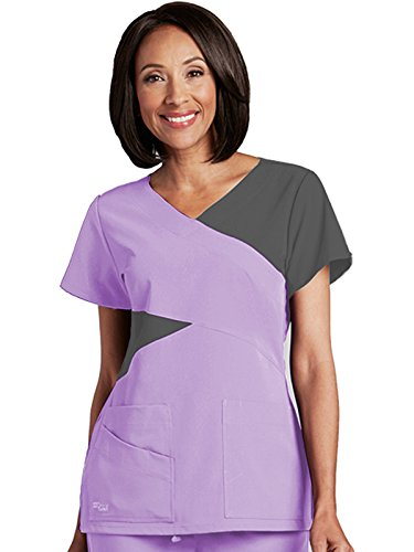 Grey's Anatomy Signature 2140 Contrast Mock Wrap Top Violet Haze /Graphite (Two Pocket Mock Wrap)