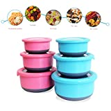 6 Stainless Steel Food Containers with Silicone Lids | 3 Pink & 3 Blue Lunch Containers with Lids | Slip Resistant Bottoms | Perfect for Leftovers, Lunches & Baby Food | BONUS - 6 Extra Silicone Lids