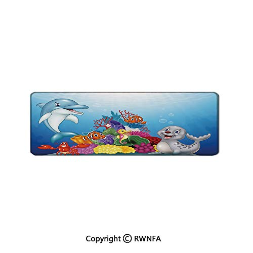 Happy Adorable Tropical Ocean Animals on Coral Reef Cartoon Style Sea Wildlife Decorative Non-Slip Rubber Base Mouse pad,(19.7