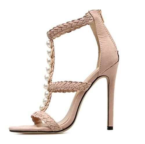 Sandales Dames T Perlé Femmes Shaped Haut Stiletto Talon Beige Heels LINYI BRqwZZ