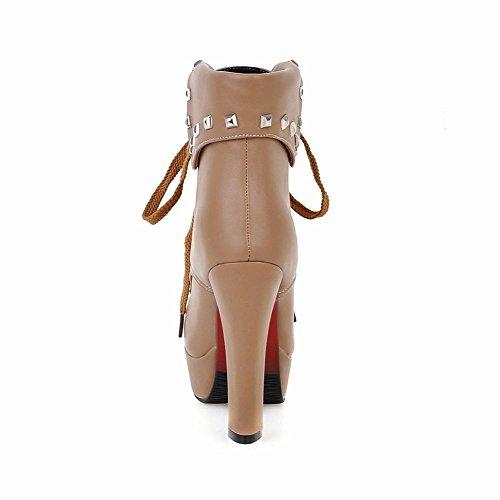 Apricot Womens Short High up Latasa Studded Heels Platform Lace Fashion Boots Sdxw7