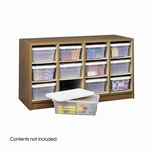 Safco Products Supplies Organizer, 12 Compartment, 9452MO, Medium Oak, Transparent Bins with Labels, Laminate Finish
