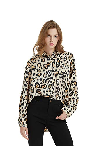 Satin Snake - Tronjori Womens Oversized Long Sleeve Button Down Leopard Snake Zebra Animal Print Shirt Blouse (M,Brown)