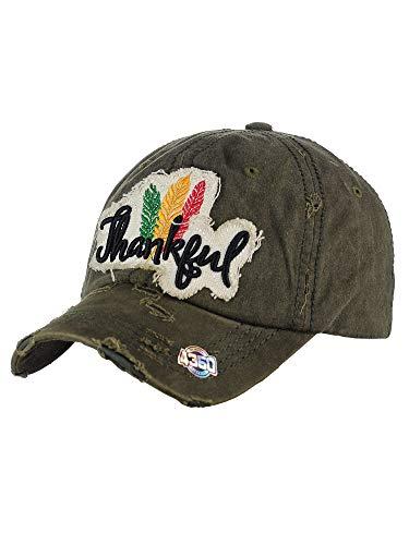 Olive Vintage Hat - NYFASHION101 Womens Baseball Cap Distressed Vintage Unconstructed Embroidered Dad Hat, Thankful, Olive