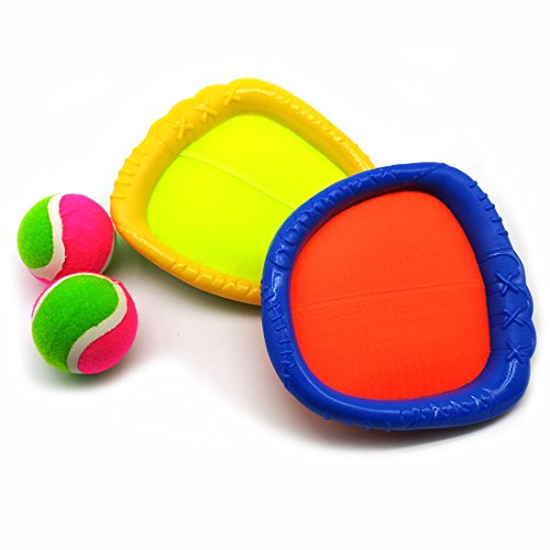 Velcro Paddle Catch Ball Set Toss and Catch Sports Game Set for Kids with 2 Baseball Glove Style paddles and 2 - Velcro Sports Baseball Glove