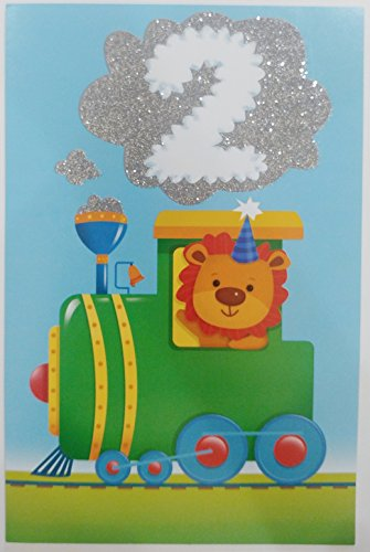 - Happy 2nd Birthday for Him / Boy - Cute Friendly Lion Greeting Card - 2 Years Old Second Two