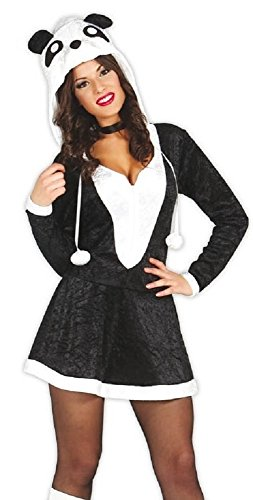 Ladies Sexy Black White Panda Chinese Animal Festival Halloween Fancy Dress Costume Outfit (UK 12-14) ()