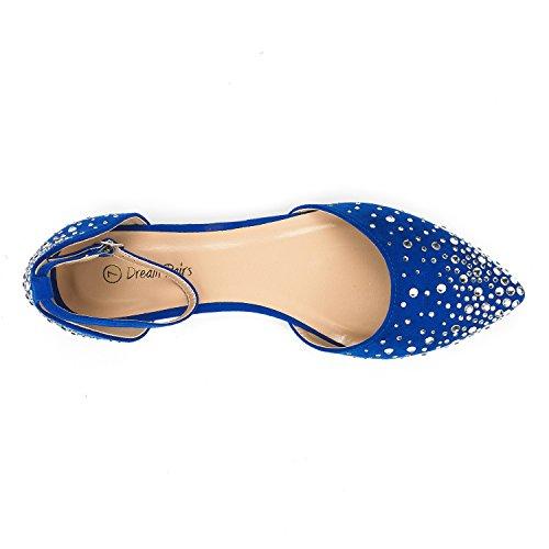 DREAM PAIRS Damen FLAPOINTED-New D'Orsay Ballerinas Schuhe Glanz-Königsblau