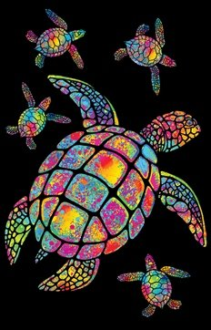 Painted Turtle Blacklight Poster 23 by 35in
