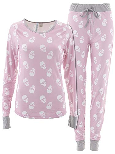 (Cozy Couture Juniors Heart Skulls Pink Valentines Day Pajamas M )
