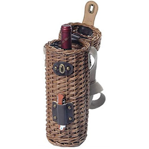 (Willow Wine Bottle Holder w Opener and Shoulder Strap)