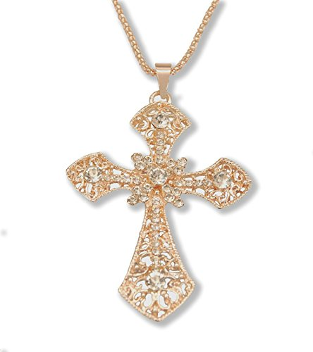Sisfrog Crystal Rose Gold Plated Rhinestone Cross Necklace Long Chain Charms Pendant Necklace Jewelry for Women and Teens, Gifts for Birthday, Baptism, Easter