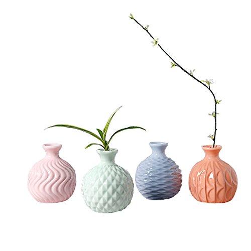 Youfui Ikebana Floral Vase Handmade Hydroponics Creative Flower Decoration, Set of 4 (Ceramic Floral Vase)