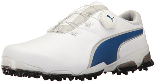 PUMA Men's Titantour Ignite Disc Golf-Shoes, Puma White-True Blue, 10.5 Medium US