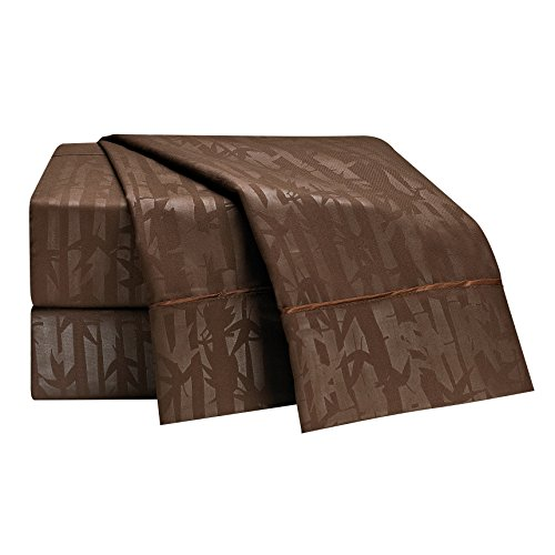 Clara Clark Premier 1800 Collection 100-Percent Microfiber Bamboo Embossed Bed Sheet Set, King Size, Brown Chocolate (Cheap Nice Comforter Sets)