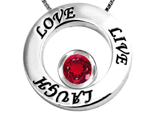 Star K Live/Love/Laugh Circle of Life Pendant Necklace with July Birth Month Round 7mm Created Ruby