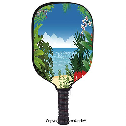 SCOXIXI 3D Pickleball Paddle Racket Cover Case,Beach Theme Island Jungle Sea Shore Ocean View with Side Flowers Crepe Gingers PrintCustomized Racket Cover with Multi-Colored,Sports Accessories]()