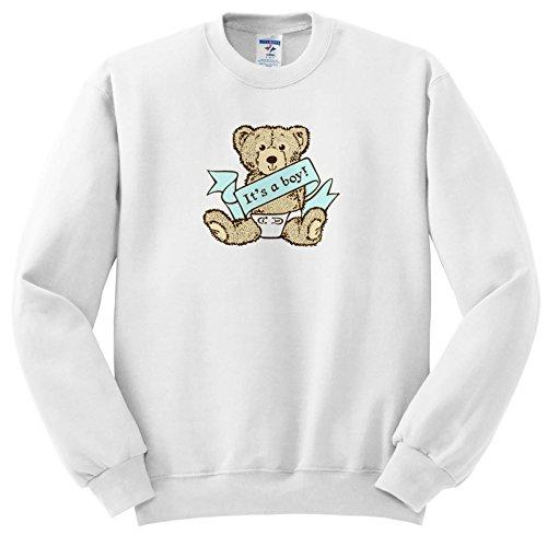 Russ Billington Teddy Bears - Baby Boy Teddy Bear Illustration - Sweatshirts - Adult SweatShirt Small (ss_255150_1) Teddy Bear Adult Sweatshirt