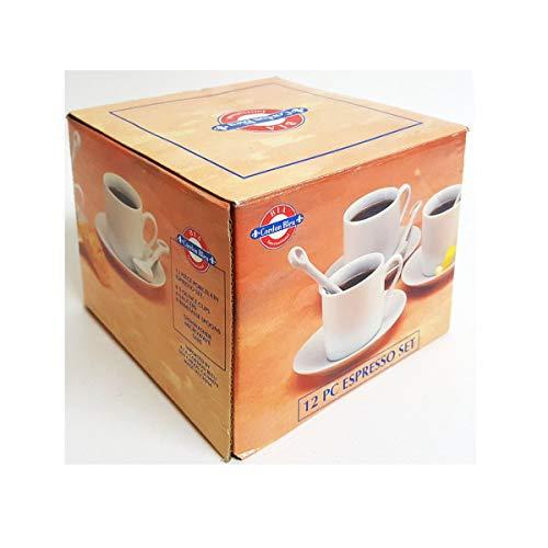 BIA Cordon Bleu 12 PC Porcelain Espresso Set 4 Cups 4 Saucers 4 Spoons White