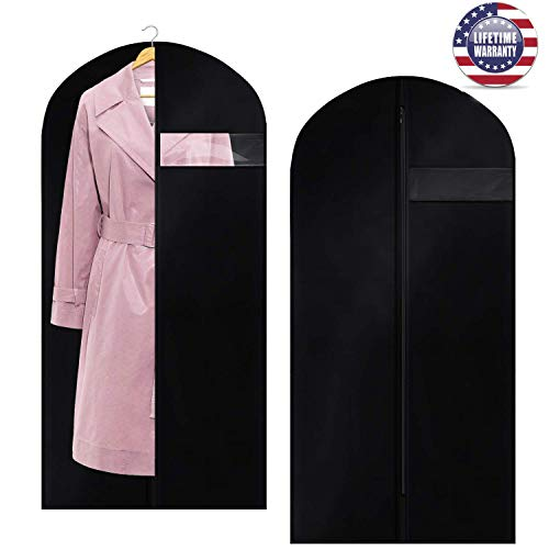 Garment Bag Dust Suit Cover Black[2Pack]400D Oxford Polyester Thick Breathable Cloth Strong Zippered Bag Hanging Bag With Clear PVC Window for Off Season Changing Clothes Dress Gown Storage 50 - Inch Storage 50