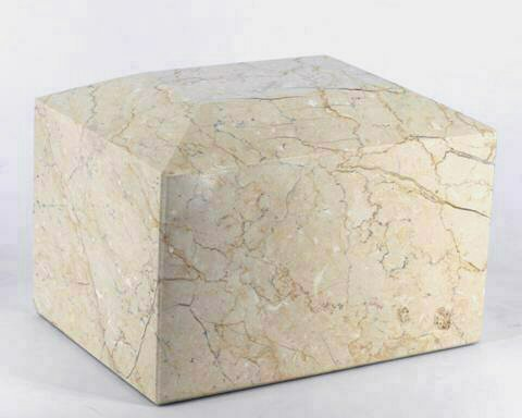Khan Imports Botticino Beige Marble Urn Vault for Ashes, Decorative Stone Cremation Urn Box for - Marble Cremation Urn