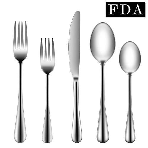 Flatware Set,BandEcho Solid Stainless Steel Silverware Set, Mirror Polished Cutlery, Eating Utensils Include Knife/Fork/Spoon, Dishwasher Safe