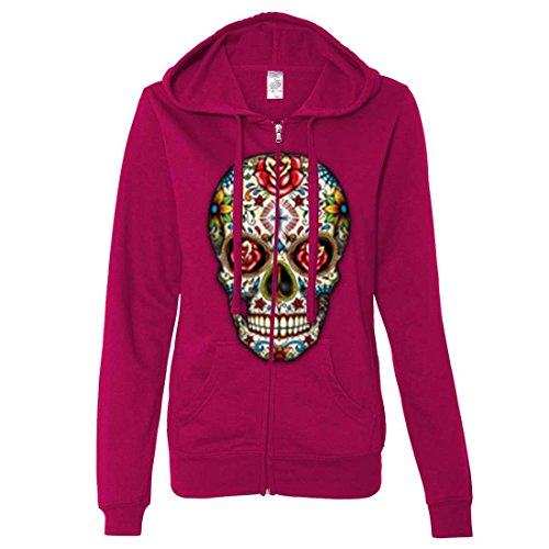 Dia De Los Muertos Sugar Skull Ladies Zip-Up Hoodie - Brite Pink XX-Large (Pink Skull Hoodie)
