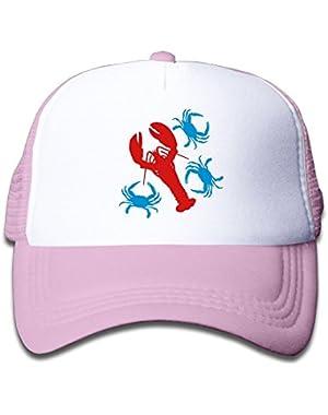 Pink Mesh Baseball Caps Adjustable Toddler Hat Lobster and Blue Crabs Unisex