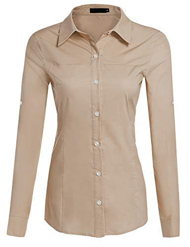 Hotouch Women Long Sleeved Tailored Button Down Shirt (Coffee XL) - Sleeved Long Classic Fit