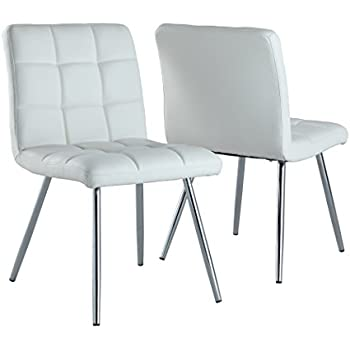 Monarch Specialties White Leather Look/Chrome Metal 2 Piece Dining Chair, 32 Part 95