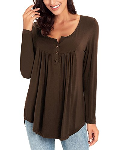 luvamia Women's Brown Long Sleeve Henley Shirt Front Buttons Casual Tunic Ruched Top Blouse Size XXL(US 20-22) (Shirt Autumn Brown Top)