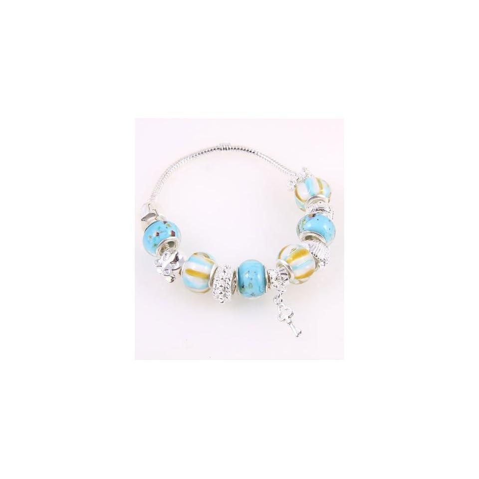 Fashion Jewelry Desinger Murano Glass Bead Bracelet with Pattern Blue