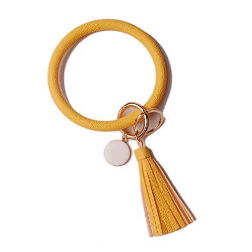 L&N Rainbery PU Leather O Key Chain Circle Tassel Wristlet Keychain for Women Girls (Yellow Tassel #2)