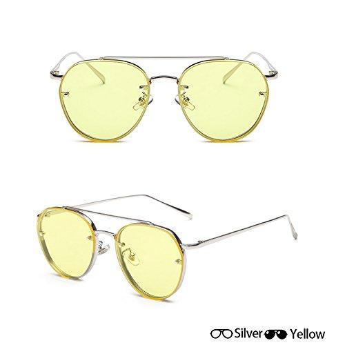 gafas gafas lentes gafas grey Unisex Oculos de W de fotograma W sol aviador completo amarillo moda señoras de de hombres oro Nueva Gafas ZHANGYUSEN de Ocean sol Mujeres sol Silver q1xS8tTq7w