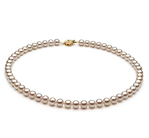 Blanc 6-6.5mm AAAA-qualité perles d'eau douce 585/1000 Or Jaune-Collier de perles