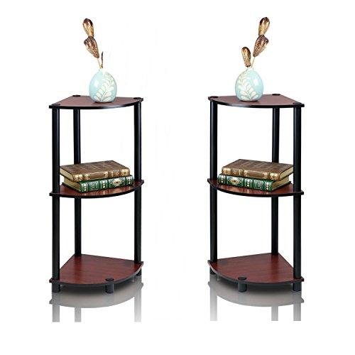 FURINO Furrino Turn'n'Tube 3-Tier Corner Display Rack Multipurpose Shelving Unit, corner shelf, corner bookcase - Pack Of 2 (Dark Cherry/Black) by FURINO