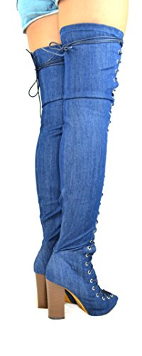 Peep amp; Chunky High Heel Blue Dark Denim 12 Thigh Lace Women's Boot Up Toe Benjamin Chase Chloe YWICqwYd